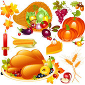 Thanksgiving set cornucopia with pumpkin and other vegetables and traditional elements of Thanksgiving Vector graphics objects isolated on white background