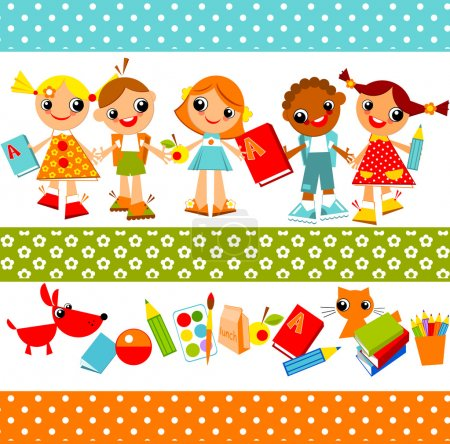 Illustration for Set of bright colored children, boys and girls holding hands. Vector animation on education - Royalty Free Image