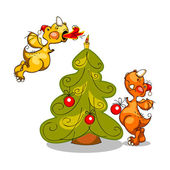 Happy new year 2012 illustration of two dragons and Christmas trees