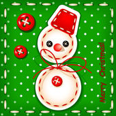 Christmas card Christmas snowman Merry Christmas with a signature made in the texture of embroidery