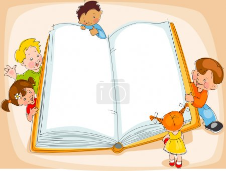 Illustration for Young children are reading a great book. drawing Banner - Royalty Free Image