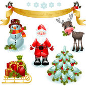 Vector illustration - set of christmas icons Santa claus with gifts and christmas tree Banner Merry Christmas and happy new year