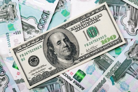 One hundred dollars bill on a russian bills
