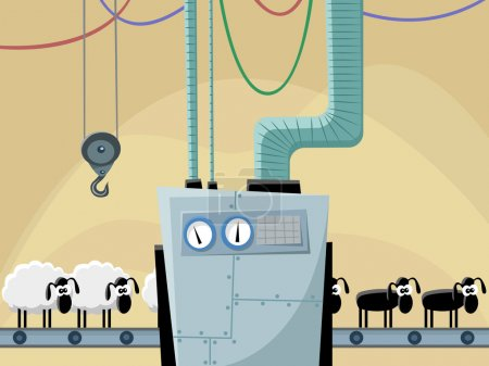 Illustration for The conveyor for a hairstyle of sheeps - Royalty Free Image