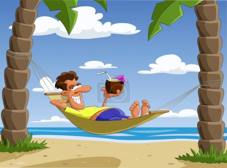 Illustration for Man lying on a hammock, vector illustration - Royalty Free Image