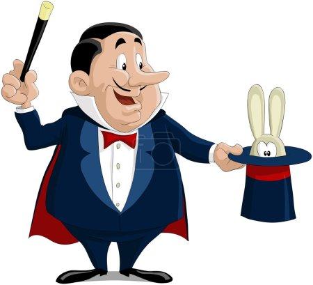 Illustration pour Le magicien sort un lapin d'un chapeau - image libre de droit