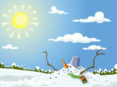 Winter landscape with melted snowman vector illustration