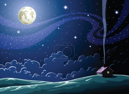 Illustration for Starry Night in the village - Royalty Free Image