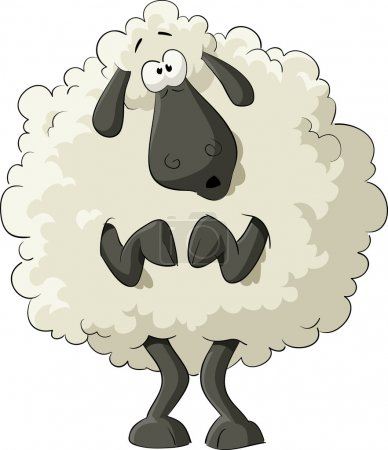 Illustration for Frightened sheep on a white background, vector - Royalty Free Image