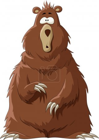 Illustration pour Surpris par un ours brun, illustration vectorielle - image libre de droit