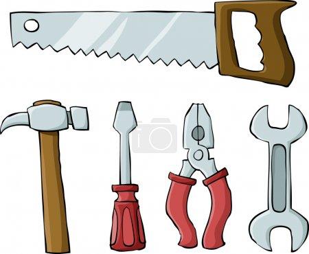 Illustration pour Outils sur fond blanc, illustration vectorielle - image libre de droit