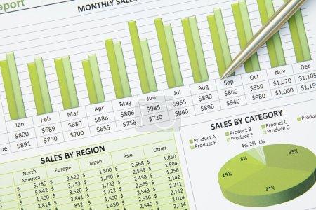 Photo pour Un gros plan d'un graphique financier d'entreprise avec des graphiques à secteurs et à tableaux . - image libre de droit