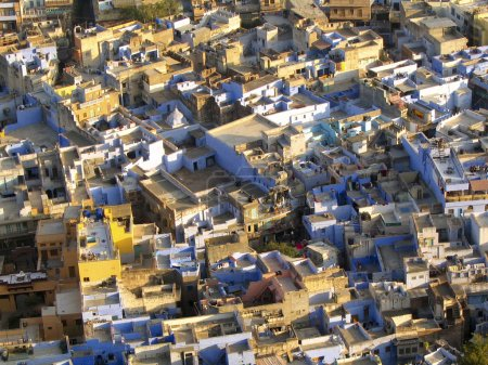 Brightly coloured rooftops and buildings in Jodhpu...