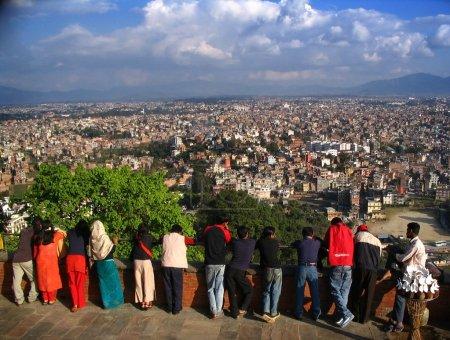 Look down over Nepal's capital, Kathmandu...
