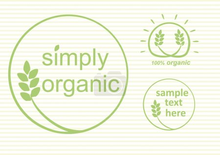 Illustration for Simply organic vector label, logo or sticker for products in green - 3 varieties - Royalty Free Image