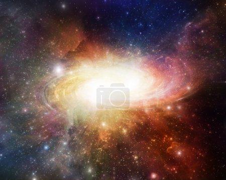 Photo pour Belle galaxie tourbillonnant autour de nébuleuses - image libre de droit