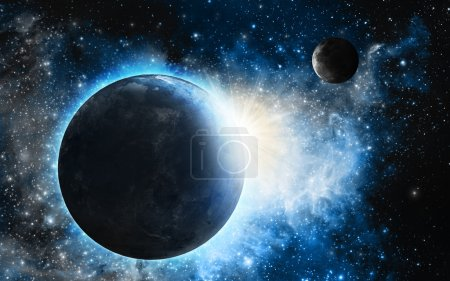 Earth and Moon with blue nebula
