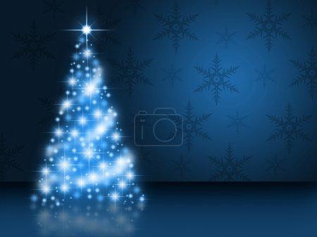 Bright blue christmas tree
