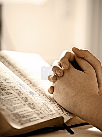Photo for A womans closed hands over a Bible in prayer - Royalty Free Image
