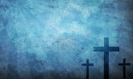 Three crosses on blue grunge