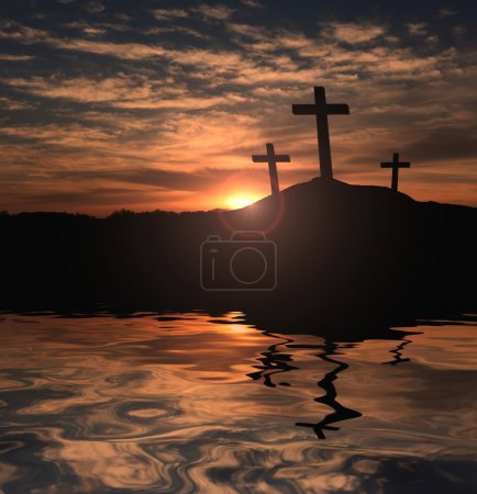 Photo for Three Christian crosses at sunset with water reflection - Royalty Free Image