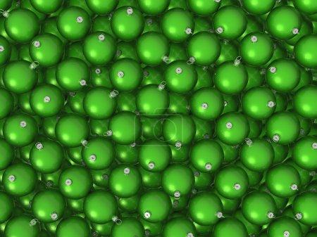 Green Christmas balls background