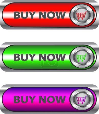 Illustration pour Acheter Ensemble de boutons / icônes métalliques pour applications Web. Vecteur - image libre de droit