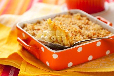 Photo pour Petits macaroni et du fromage dans le plat allant au four - image libre de droit
