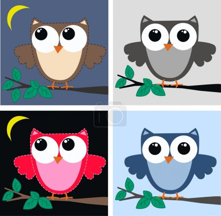 Illustration for Four different owls - Royalty Free Image