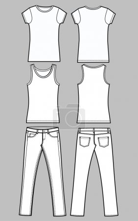 Garment sketch jeans tee linen