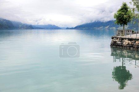 Photo pour Brume alpine sur le lac Brienz en Suisse - image libre de droit