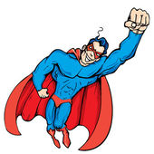 Cartoon masked superhero flying up