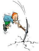 Cartoon man with a pick axe