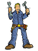 Cartoon of a handy man with all his tools