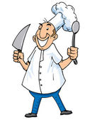 Cartoon of a chef with carving knife and ladle Isolated on white