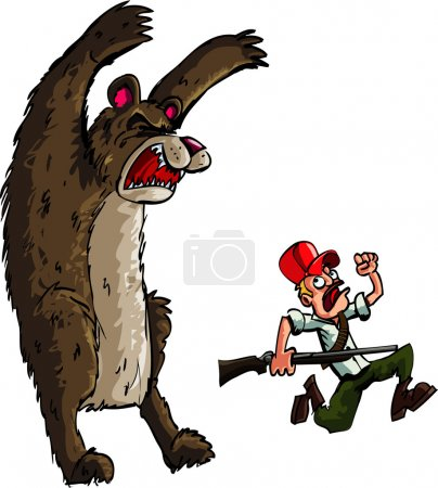 Illustration for Hunter running from an angry bear. Isolated on white - Royalty Free Image