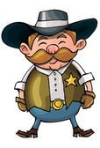 Roztomilý kreslený kovboj s pistolí pásem