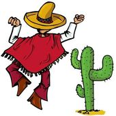 Cartoon Mexican wearing a huge sombrero islolated one white