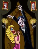 Cartoon Vampire menacing a blonde woman in a darkened room