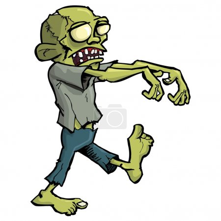 Cartoon zombie isolated on white. He is lurching w...