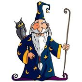Cartoon Wizard witha staff