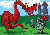 Cartoon knight facing a big red dragon A castle in the back ground