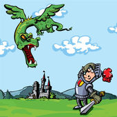 Cartoon knight attacked by a dragon A castle is in the distance
