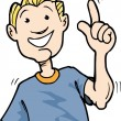 Cartoon of boy snapping his fingers. Isolaed on wh...