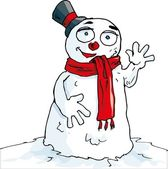 Cartoon of waving snowman with a scarf Isolted on white