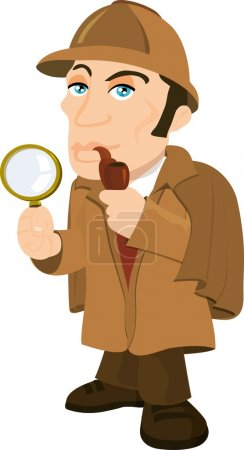 Illustration for Cartoon Sherlock Holmes with a magnifying glass. isolated on white - Royalty Free Image