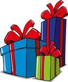 Cartoon illustration of christmas gifts