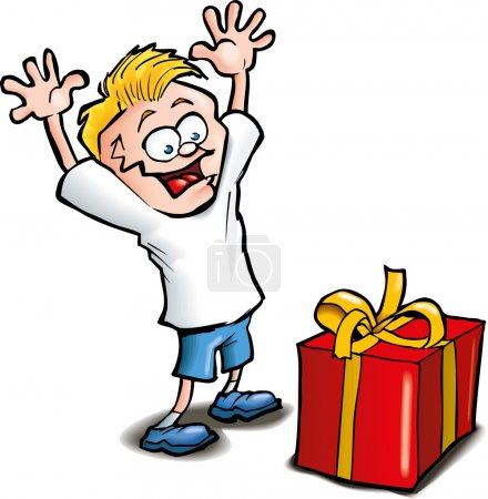 Cartoon of Excited kid receiving a gift