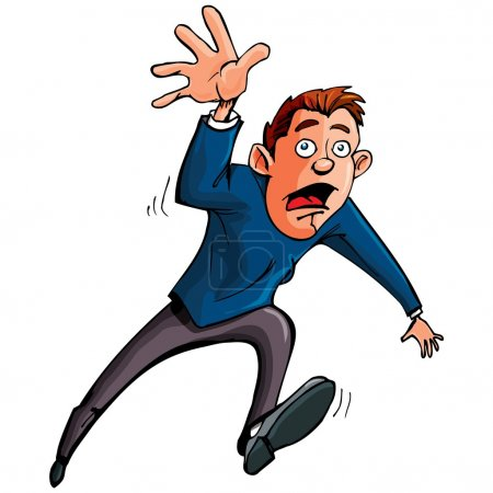 Cartoon man running and reaching forward