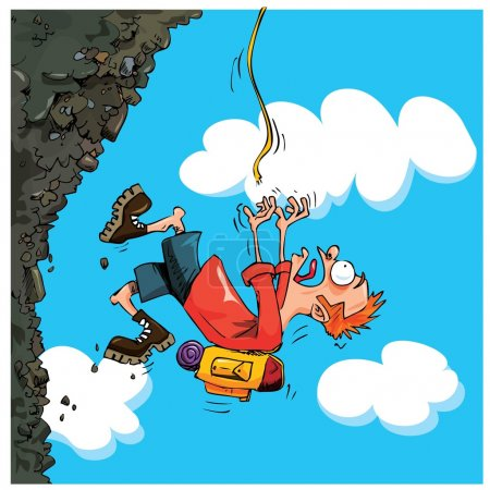 Illustration for Cartoon Mountaineer falling of a mountain. Sky behind - Royalty Free Image